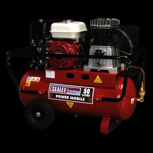 Compressor 50ltr Belt Drive Petrol Engine 5.5hp - Sealey - SA5055