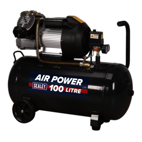 Compressor 100ltr V-Twin Direct Drive 3hp - Sealey - SAC10030VE