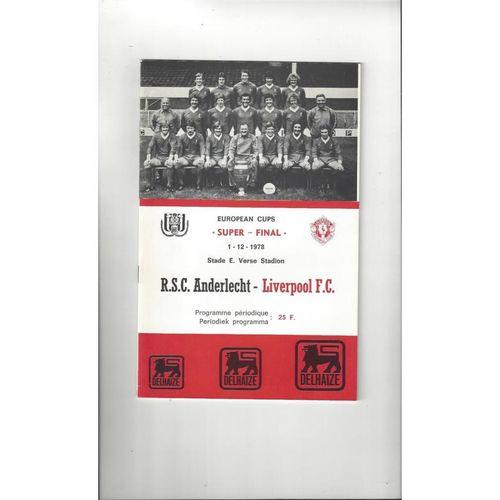 1978 Anderlecht v Liverpool European Super Cup Final Football Programme