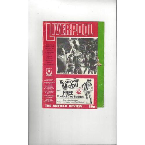 1977 Liverpool v Hamburg European Super Cup Final Football Programme