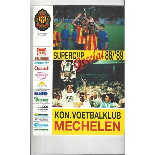 1989 Mechelen v PSV European Super Cup Final Football Programme