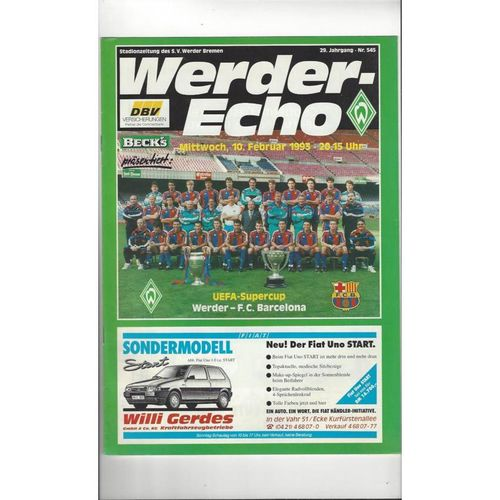 1993 Werder Bremen v Barcelona Super Cup Final Football Programme