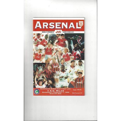 1995 Arsenal v AC Milan Super Cup Final Football Programme
