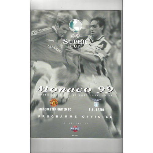 1999 Manchester United v Lazio Super Cup Final Football Programme