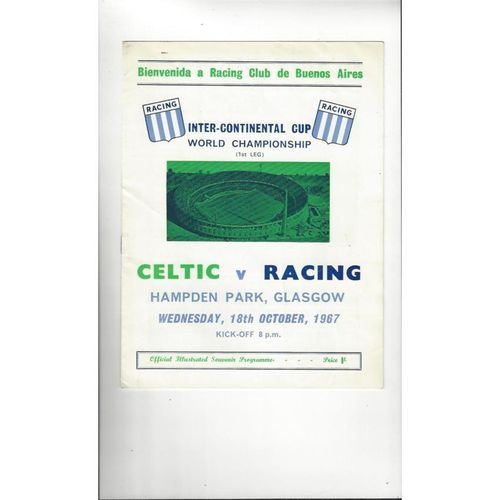 1967 Celtic v Racing Club World Club Championship Football Programme