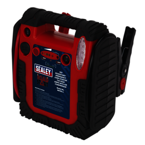RoadStart® Emergency Jump Starter with Air Compressor 12V 750 Peak Amps - RS132