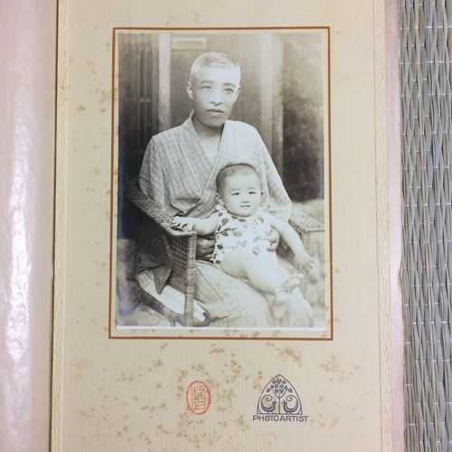 1900s original photo, man with baby
