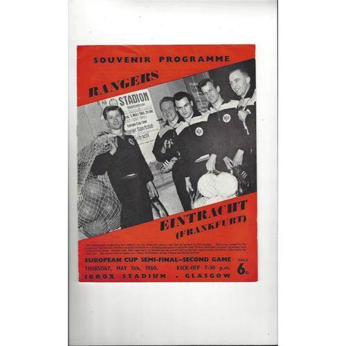 1960 Rangers v Eintracht European Cup Semi Final Football Programme