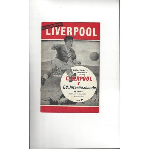1965 Liverpool v Inter Milan European Cup Semi Final Football Programme