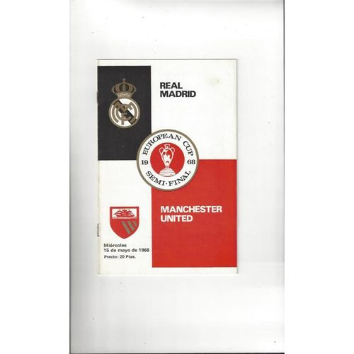 1968 Real Madrid v Manchester United European Cup Semi Final Football Programme