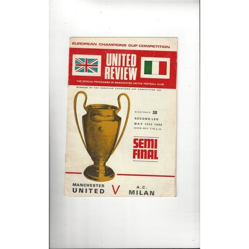 1969 Manchester United v AC Milan European Cup Semi Final Football Programme