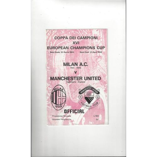1969 AC Milan v Manchester United European Cup Semi Final Football Programme