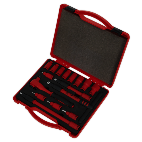 "Insulated Socket Set 16pc 3/8""Sq Drive 6pt WallDrive® VDE Approved -  Sealey - AK7940"