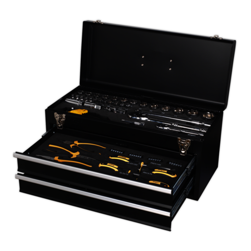 Portable Tool Chest 2 Drawer with 90pc Tool Kit - Sealey - S01055