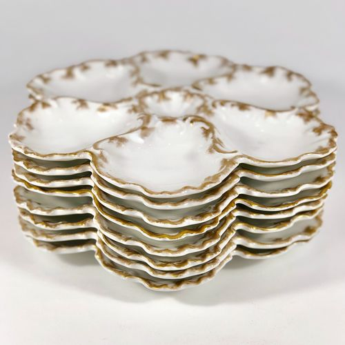 Eight 19th Century Limoges Oyster Plates