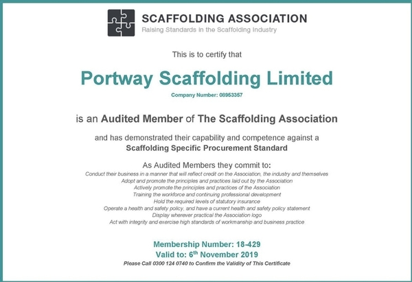 Scaffolding Association Audited Contracter