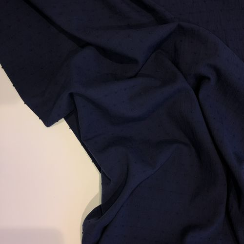 Navy Cotton Dobby 0.93cm Remnant