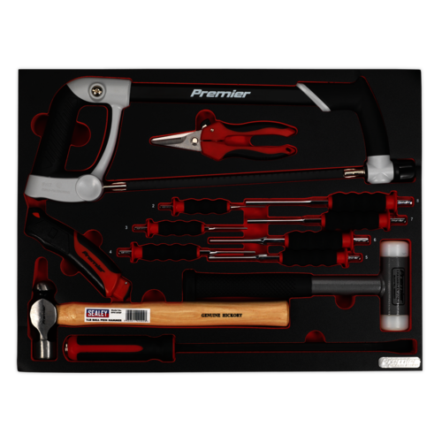 Tool Tray with Hacksaw, Hammers & Punches 13pc - Sealey - TBTP06UK