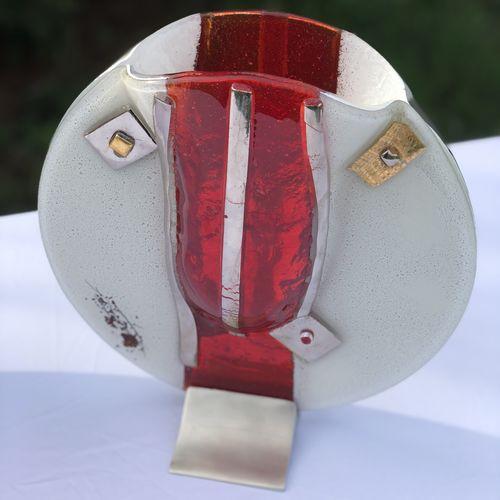 Red White & Platinum Round Vase