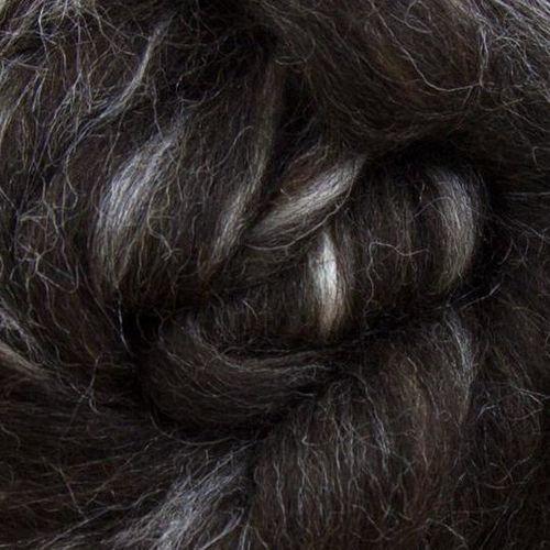Black Shetland/Extra Bleached Tussah Silk Blend 100g