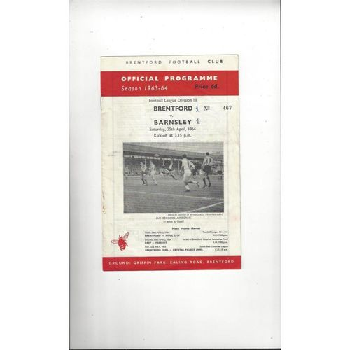 1963/64 Brentford v Barnsley Football Programme