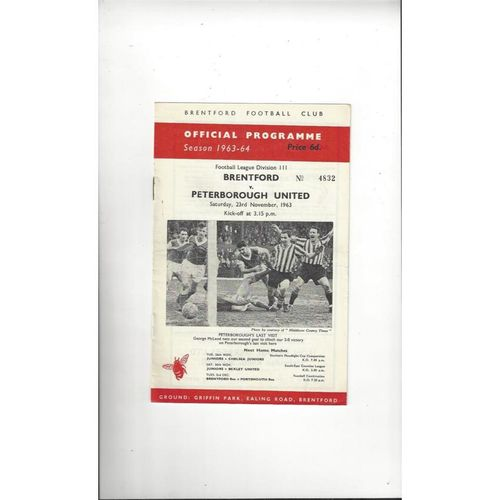 1963/64 Brentford v Peterborough United Football Programme