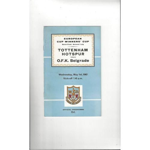1963 Tottenham Hotspur v OKF Belgrade European Cup Winners Cup Semi Final Football Programme