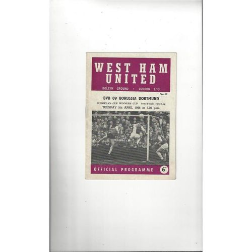1966 West Ham United v Borussia Dortmund European Cup Winners Cup Semi Final Football Programme