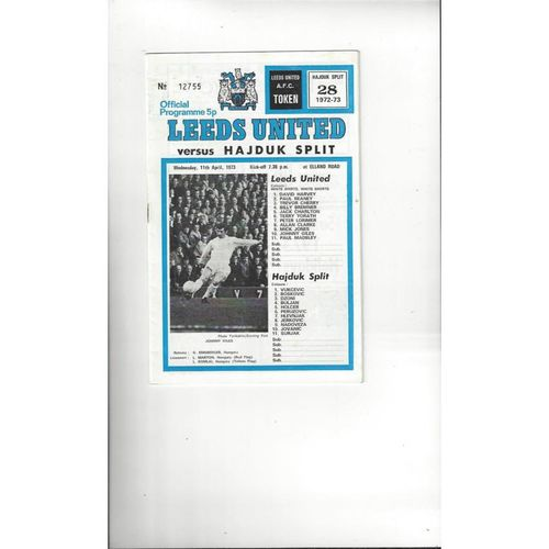 1973 Leeds United v Hajduk Split European Cup Winners Cup Semi Final Football Programme