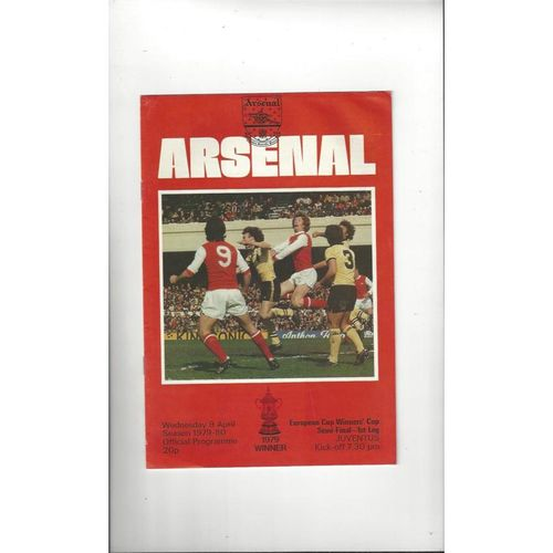 1980 Arsenal v Juventus European Cup Winners Cup Semi Final Football Programme
