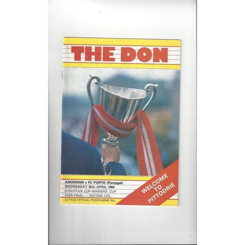 1984 Aberdeen v Porto Cup Winners Cup Semi Final Football Programme