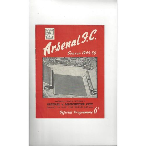 1949/50 Arsenal v Manchester City Football Programme