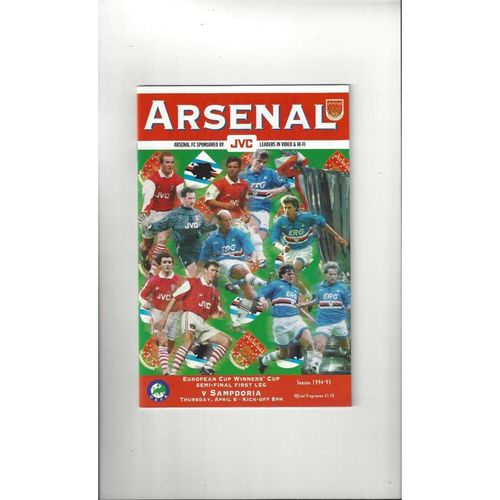 Arsenal v Sampdoria European Cup Winners Cup Semi Final Football Programme 1995