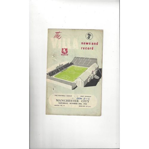 1952/53 Aston Villa v Manchester City Football Programme