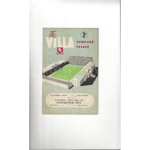 1954/55 Aston Villa v Manchester City Football Programme