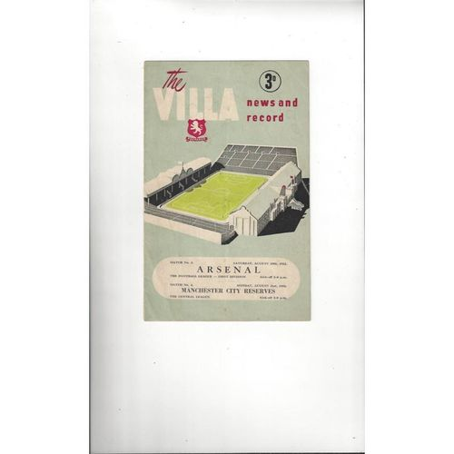 1953/54 Aston Villa v Arsenal Football Programme