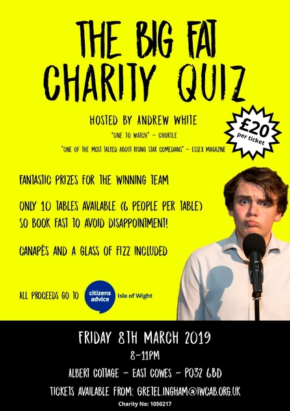 The Big Fat Charity Quiz - 8th March 2019