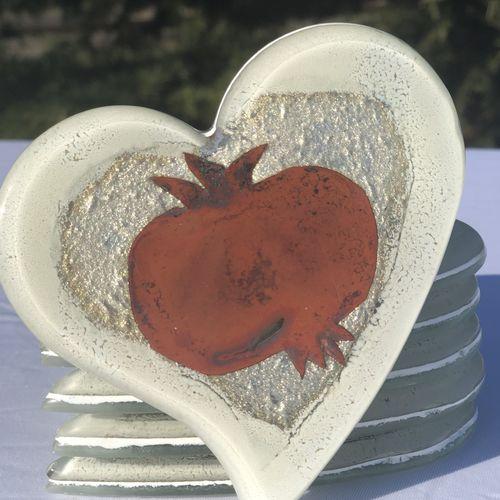 Opera Pomegranate Heart Coaster