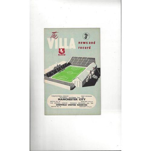 1956/57 Aston Villa v Manchester City Football Programme Dec