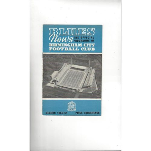 1961 Birmingham City v Inter Milan UEFA Fairs Cup Semi Final Football Programme