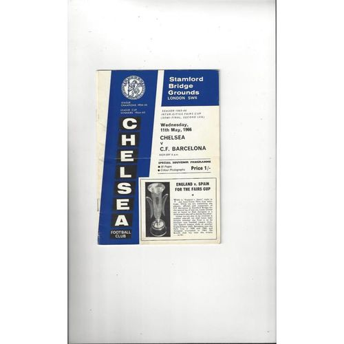 1966 Chelsea v Barcelona UEFA Fairs Cup Semi Final Football Programme