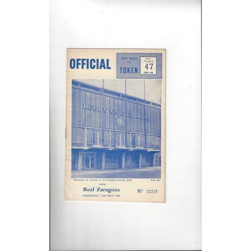 1966 Leeds United v Real Zaragoza UEFA Fairs Cup Semi Final Football Programme May