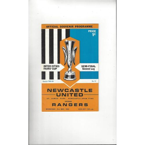 1969 Newcastle United v Rangers UEFA Fairs Cup Semi Final Football Programme