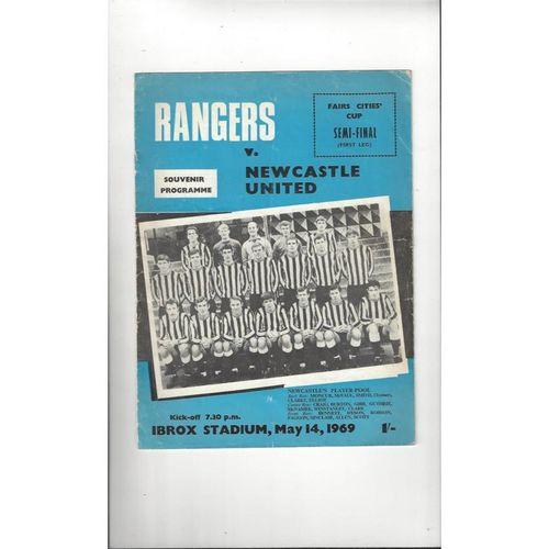 1969 Rangers v Newcastle United Fairs Cup Semi Final Football Programme