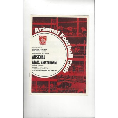 1970 Arsenal v Ajax UEFA Fairs Cup Semi Final Football Programme