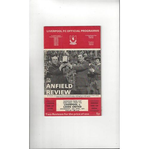 1971 Liverpool v Leeds United UEFA Fairs Cup Semi Final Football Programme