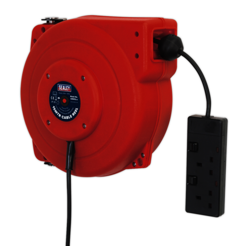Cable Reel System Retractable 15mtr 2 x 230V Socket - Sealey - CRM15