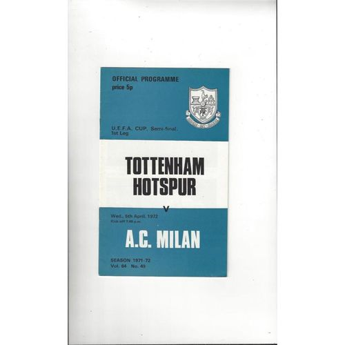 1972 Tottenham Hotspur v AC Milan UEFA Cup Semi Final Football Programme