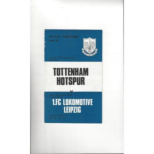 1974 Tottenham Hotspur v Lokomotive Leipzig UEFA Fairs Cup Semi Final Football Programme
