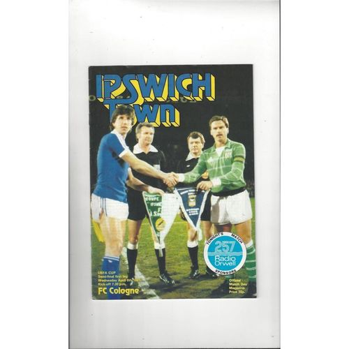 1981 Ipswich Town v Cologne UEFA Cup Semi Final Football Programme